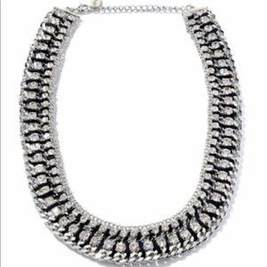 Braided European crystal necklace